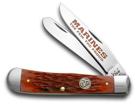 Case Xx Red Jigged Bone Marines The Few The Proud Trapper Pocket Knife Knives