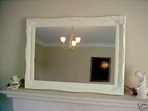 EXTRA LARGE WARM CREAM (not a distressed antique finish) Shabby Chic Rectangular Wall Mirror complete with Premium Quality Pilkington's Glass - Extra Large Size: 30 inches x 42 inches (77cm x 107cm)