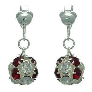 Delfina Silver Ruby Crystal Clip On Earrings
