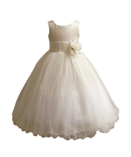 Classykidzshop Ivory Sleeveless Poly Satin Tea-Length Special Occasion Dress - 6T Ivory/Ivory