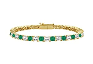 Emerald and Diamond Tennis Bracelet with 3.00 CT TGW on 18K Yellow Gold