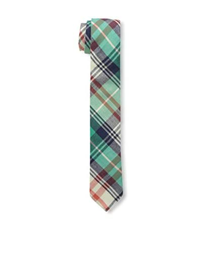 Skinny Tie Madness Men's 2″ Plaid Tie, Green/Red