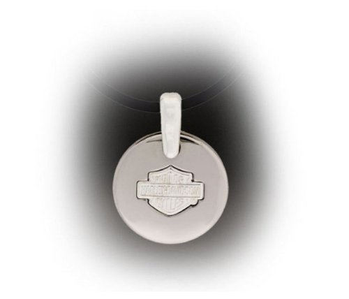 Harley-Davidson® Women's Stamper Pendant Necklace. Titanium Bar & Shield. 19mm x 38mm. TN006N