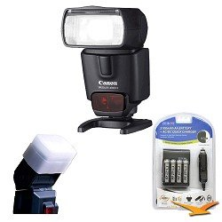 Canon 2805B002 Speedlite 430EX II Flash for Canon Digital SLR Cameras with Hard Flash Diffuser for Canon 430EXII and AA Rapid Multivoltage AC/DC Charger (100-240v) with 4- 3100mah AA Batteries