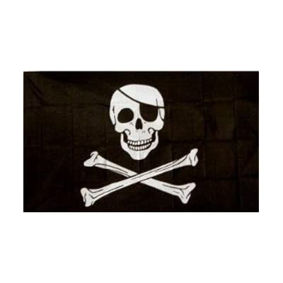 Jolly Roger Pirate Flag (with Patch) 5ft x 3ft