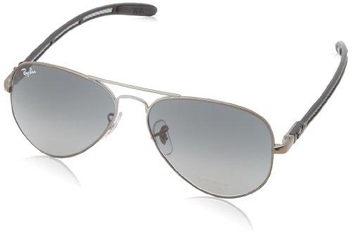 Ray-Ban Men's RB8307-029/71 Aviator Carbon Fibre Oval Sunglasses,Matte Gunmetal,55 mm