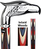 Colors Don't Run Chrome Plated Eagle Head Walking Cane With Inlaid Wenge Wood Shaft and Silver Coll