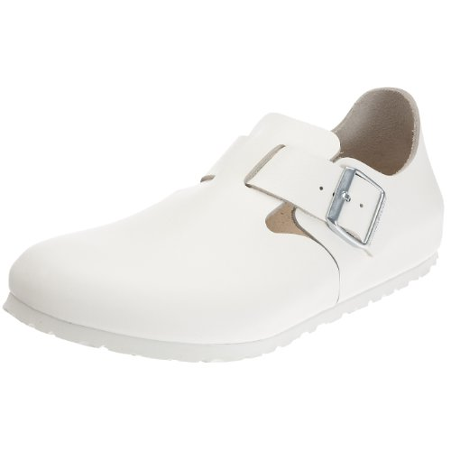 Birkenstock London Smooth Leather, Style-No. 66133, Unisex Loafer, White, EU 36, slim width