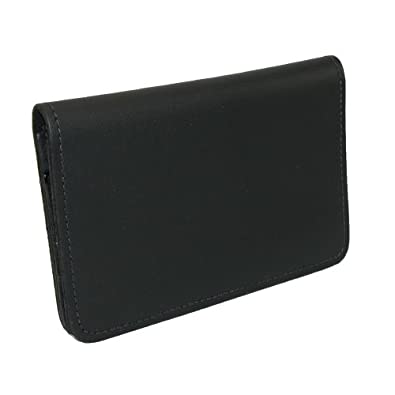 CTM® Unisex Leather Top Stub Checkbook Cover, Black