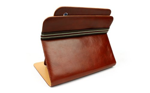 100% Genuine Leather Case for iPad 2 with 360 degree rotating stand allows for various viewing angles & positions.