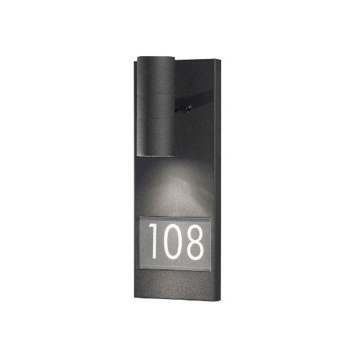 Konstsmide Gu10 7665-750 Modena Illuminated House Number Sign with Up And Down Light, 35 Watt, Matt Black