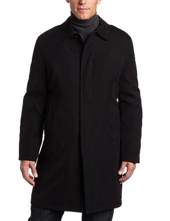 London Fog Men's Durham Single Breasted Fly Front Rain Coat, Black, 36 Regular