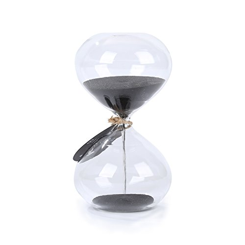 Biloba 4.5 Inch Puff Sand Timer/Hourglass 3 Minutes - Black Color Sand - Inspired Glass/Home , Desk , Office Decor (Three Minute Sand Timer compare prices)