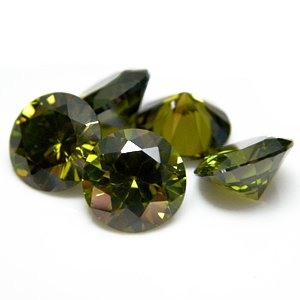 Round 7mm Olive Green CZ Cubic Zirconia Loose Stone Lot of 100 Pieces