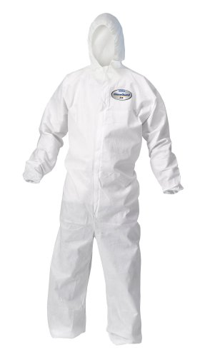 Kimberly-Clark KleenGuard A10 Polypropylene Light Duty Disposable Coverall with Hood, Elastic Wrist, White, Size 2XL (Case of 25)