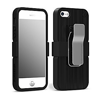 Special Sale PureGear Utilitarian Shell and Holster Combo with Detachable Swivel 360° Clip, Kickstand for Apple iPhone 5 / 5s - Retail Packaged - Black