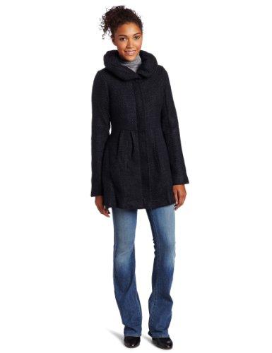 CoffeeShop Women's Textured Wool Coat with Hood, Black/Navy, S