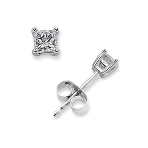 .50 Ct Princess Cut C.Z. Diamond Stud Earrings Bridal Silver Jewelry (Nice Holiday Gift, Special Black Firday Sale)