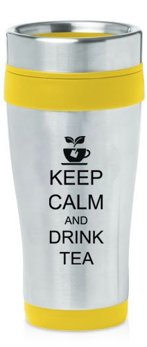Yellow 16Oz Insulated Stainless Steel Travel Mug Keep Calm And Drink Tea