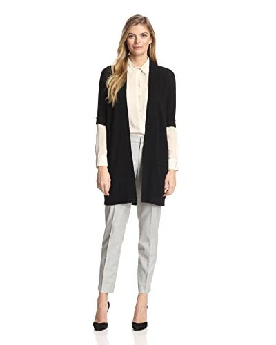 Magaschoni Women's Cashmere Cardigan with Rolled Sleeves