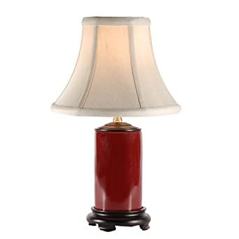 small red porcelain accent table lamp. Black Bedroom Furniture Sets. Home Design Ideas