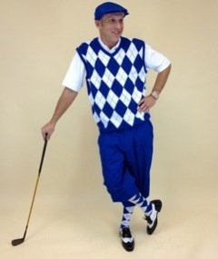 Mens Golf Outfit - Solid Royal Stewart Knickers, Royal White Black Overstitch... by Kings Cross Knickers