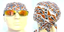 Bikers Cap with Rebel Flag Confederate Flag Southern Design Pattern Also Known As Headwraps, Skullies, Skull Caps, Bandanas in Red, White and Blue Colors