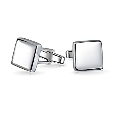Bling Jewelry High Polished 925 Sterling Silver Modern Square Mens Cufflinks