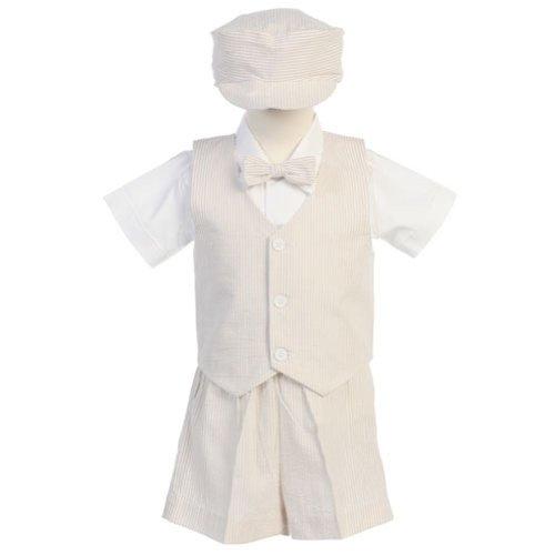 Lito Boys Khaki Vest Shorts Easter Ring Bearer Formal Suit 12M-4T