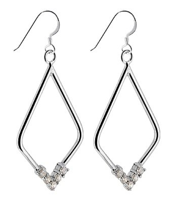 TDES007 Nickel Free Sterling Silver Clear CZ Accents Hoop French Wire Dangle Earrings