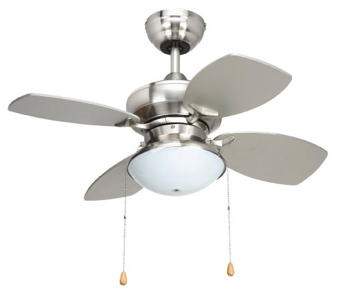 Yosemite Home Decor Hurricane Bs 28 Inch Ceiling Fan With Light Kit Brushed Steel