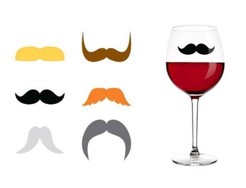 Kikkerland Dapper Staches Silicone Drink Markers, Set of 6