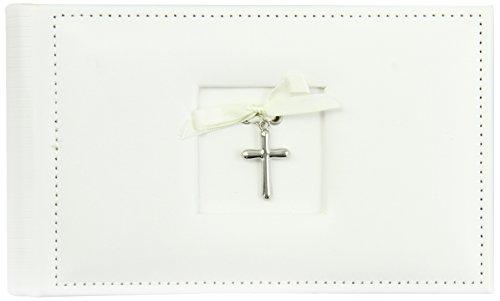 Mud Pie Baby Classic Keepsakes Faux Leather Cross Photo Album, White