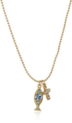 The Vatican Library Collection Delicate Inspirations Cross and Fish Necklace