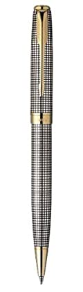 Parker Sonnet Sterling Ciselé Medium Point Ballpoint Pen with Golden Trim, Silver (1743553)