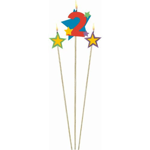 Amscan Colorful Star Designed #2 Pick Birthday Candle, Multicolored, 7""