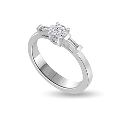 1.00 carat Diamond Engagement Ring for Women. G/VS1 Solitaire Round Brilliant Diamond in 18ct White Gold