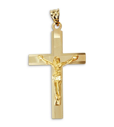 New 14k Yellow Gold Jesus Crucifix Cross Charm Pendant