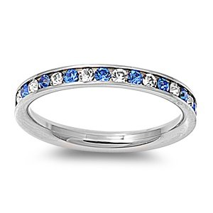 Stainless Steel Eternity Blue And Clear Cz Wedding Band Ring 3mm