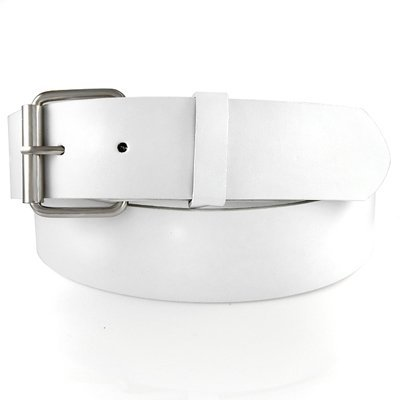 GENUINE LEATHER SNAP ON WHITE BELT WITH A DETACHABLE BUCKLE, FITS ANY KIND OF BUCKLE Small (30 - 32)