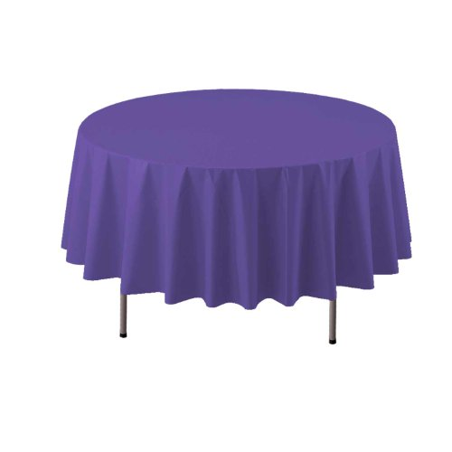 "Party Essentials Heavy Duty Round Plastic Table Cover, 84"", Royal Purple"