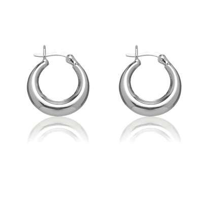 New Fashion Jewelry Hoop Earrings 925 Sterling Silver Small Puffed Circle, Measures 21x18 MM(WoW !With Purchase Over $50 Receive A Marcrame Bracelet Free)