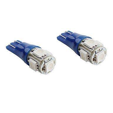 T10 5*5050 Smd Blue Led Car Flashing Signal Lights (2-Pack, Dc 12V)