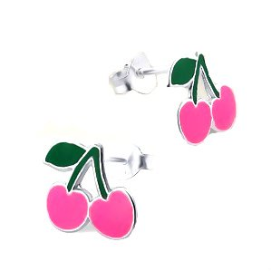 Adorable PINK Cherry Sterling Silver Childrens Earrings Post/stud