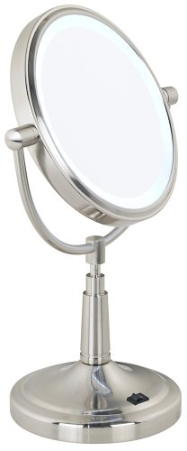 """Cordless Led Lighted Pivoting 7"""" Wide Vanity Mirror front-741449"""