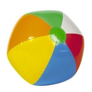24 Mini BEACH BALLS/6-Panel Traditional Style Rainbow 6