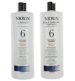 Nioxin System 6 Cleanser & Scalp Therapy Conditioner For Noticeably Thinning Hair Duo Set 1 Cleanser 33.8 oz.,1 Scalp Therapy Conditioner 33.8 oz.