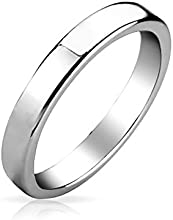 Bling Jewelry Anillo Tungsteno Pulido Plana Unisex Anillo de Boda 3mm