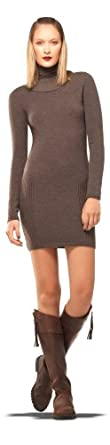 STRETCH CREPE KNITTED SWEATER DRESS HEATHER DARK BROWN, M