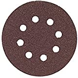 Bosch SR5R120 Random Orbit Sander Hook and Loop 8 Hole Disc 5-Inch 120 Grit Sand Paper, Red, 5-Pack